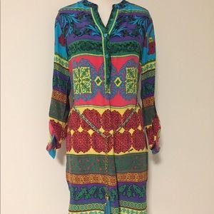 Hale Bob Colorful Silk Shift Dress w/ Belt!!!